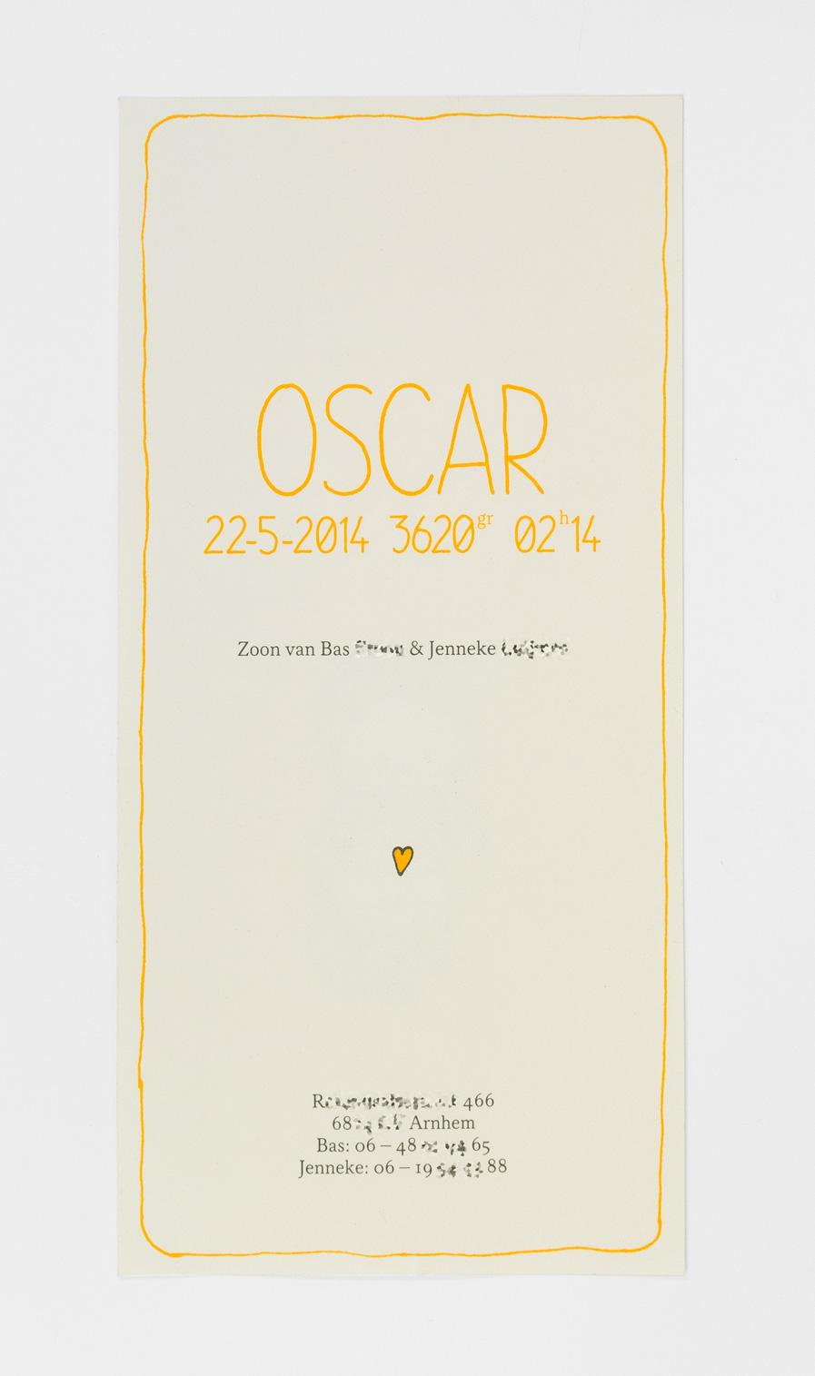 Geboortekaartje Oscar (achterzijde)