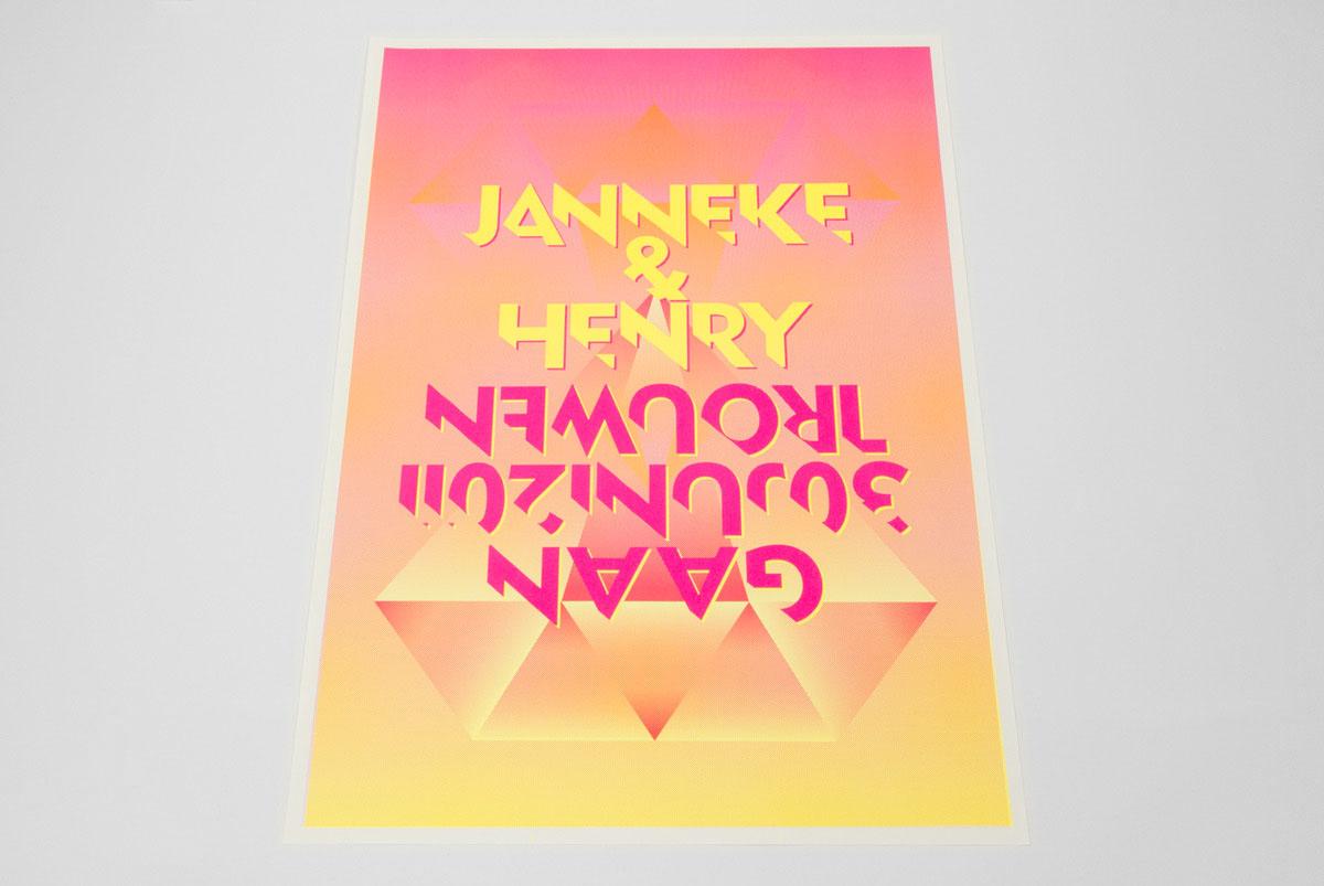 Trouwkaart (fluorescerende kleuren).