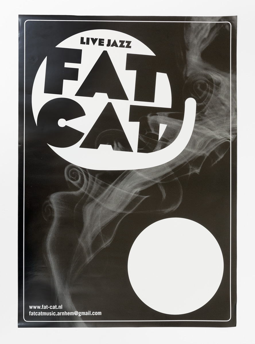Fat Cat affiche met ruimte voor speeldata