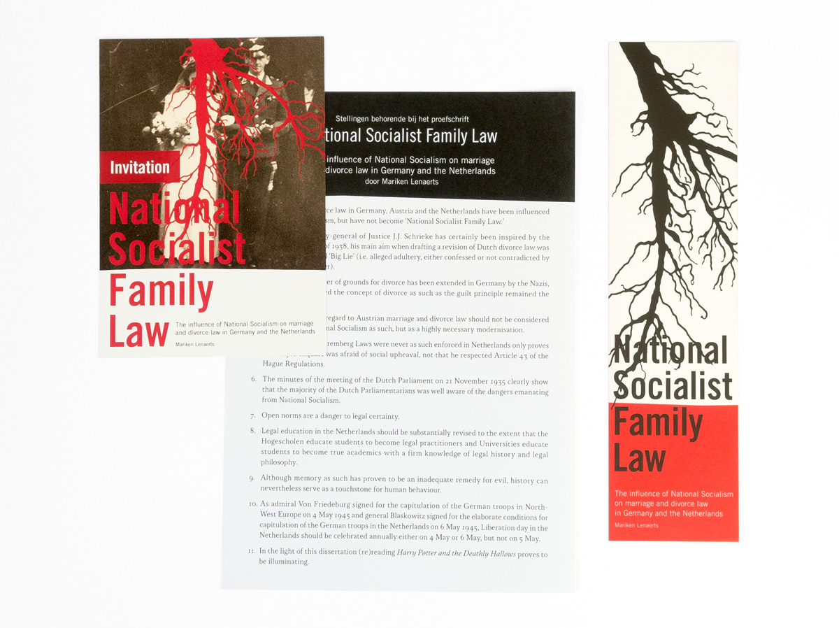 National Socialist Family Law, uitnodiging, stellingen en boekenlegger